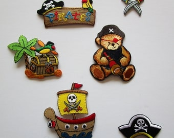Set of (6) Boys PIRATE Applique Set Embroidered Iron On Treasure Chest Ship Hat Swords Fun