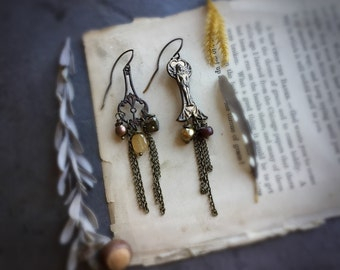 Victorian Tribal Goddess Asymetrical Earrings