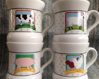 Vintage Vandor Country Collection Farm Animals and Farm House Mugs Plezman Designs | Retro Mugs | Vintage Country Decor | Farm Coffee Mugs