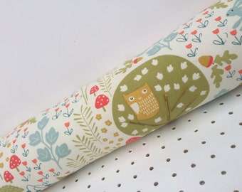 Handmade Scandi Forest Fabric Draught Excluder. Draft Stopper. Fox, Owl, Made in Cornwall.