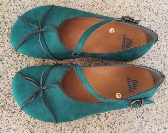 Sale 20% OFF, Vegan Leather Shoes,  Flat Shoes, Ballerina Shoes, Slip Ons, green shoes, OPHIURE GREEN/blue suede