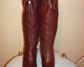 Brown Leather Corelli Knee Boots 7 1/2B