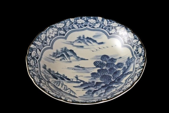 Blue and White Soup Bowl, Rice Bowl, Noodle Bowl,  Pasta Bowl, Landscape Pattern, Signed, Japanese Design, Porcelain