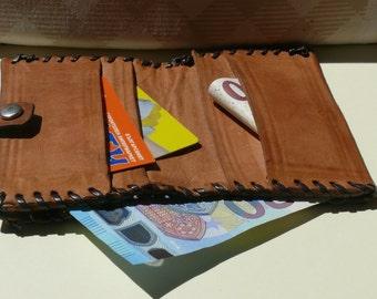 Vintage Leather Wallet, Orange Brown Billfold Purse, Vintage Pocketbook, Leather Money Folder