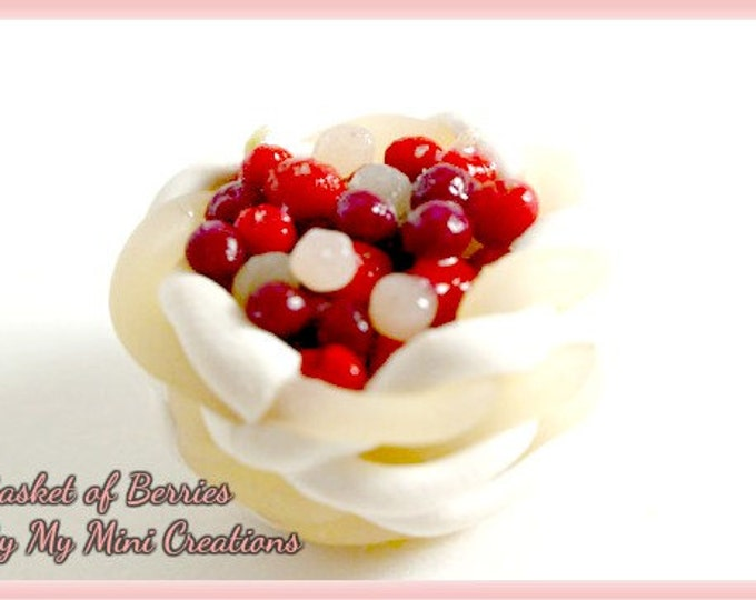 Basket of Berries, Polymer Clay, Miniature Food, Miniature Food Jewelry, Dollhouse Food, 1:12 scale