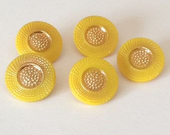 Yellow with silver trim vintage glass button lot-6pc
