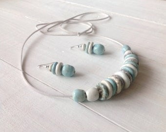 Ceramic jewelry, Ceramic set,  Ceramic necklace, Ceramic earrings, White, Blue, Ready to ship