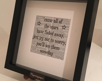 Framed - Oasis - stop crying your heart out - print on a vintage dictionary page