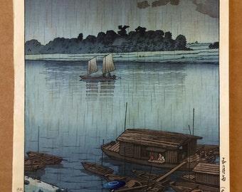 """Vintage Japanese Woodblock Print, Hasui Kawasi, """"Rainy Day at Arakawa River."""""""