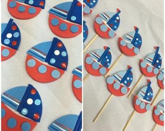 12 Sailor theme cupcake topper, decor pieces