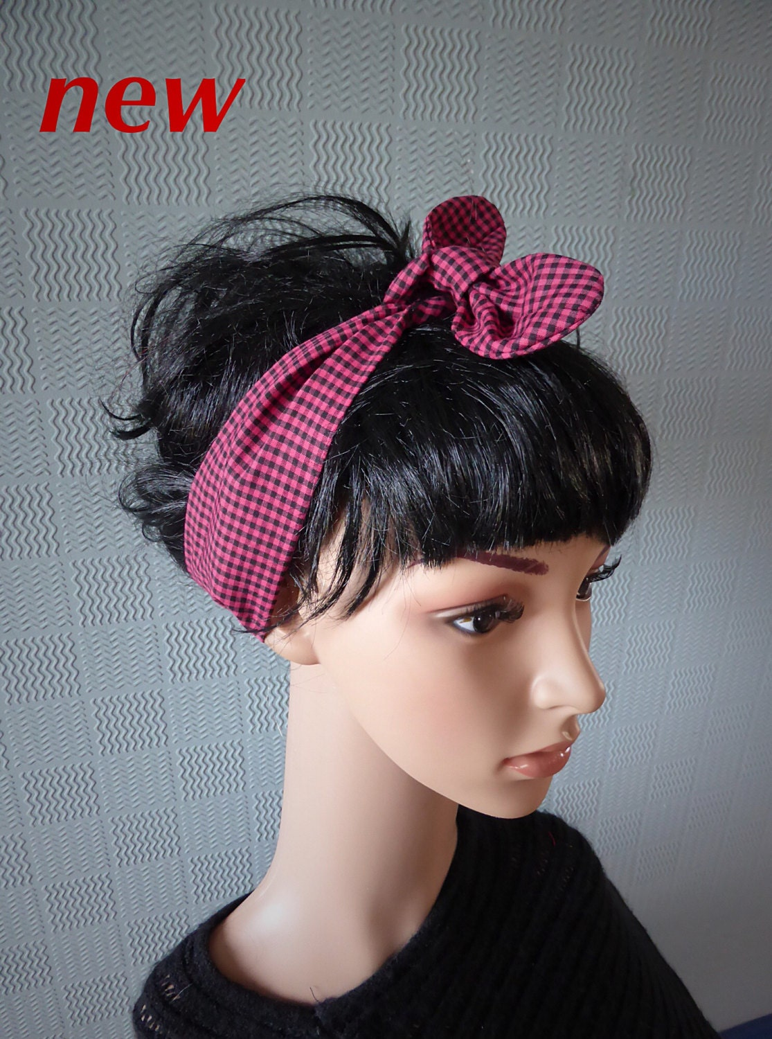 gingham retro vintage style rockabilly 50 s scarf hair