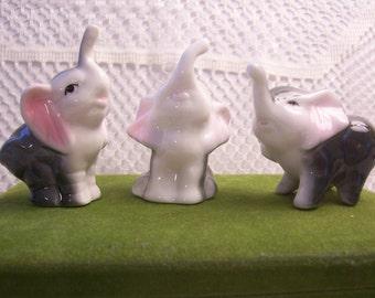 Three Miniature Elephant Figurines