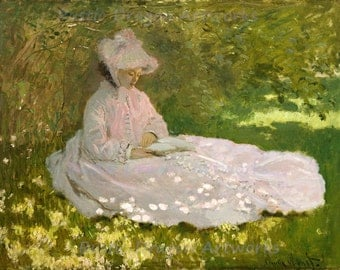 "Claude Monet ""Springtime"" 1872 Reproduction Print Woman Sitting Under a Tree Reading on a Spring Day Trees Flowers"