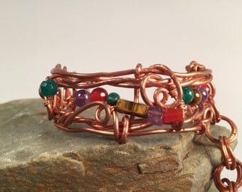 """Handcrafted Copper Bracelet with semi-precious stones """"Heirloom Tomatoes"""""""