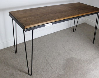 7ft Vintage Oak Wood Table with Steel Hairpin Legs