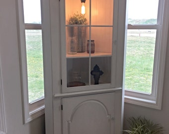 SOLD White Farmhouse Corner Cabinet