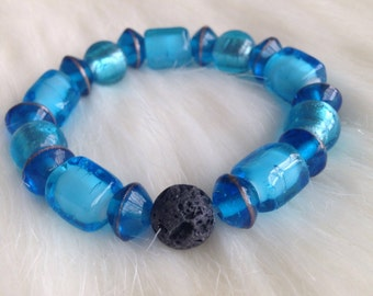 Glass bead and lava bead bracelet for essential oils HALF PRICE SALE