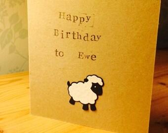personalised handmade card - square 5 inch kraft - happy birthday ewe lamb sheep