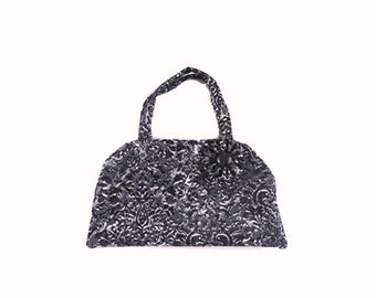 "Handbag in grey/black denim/ corduroy cotton, with ""flowers"""