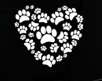 Paw Prints Heart Adopt!  Mom-I-Love-My-Dog-iPad-Vinyl-Car-Window-Decal-Sticker Pitbull