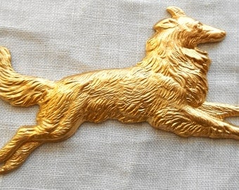 1 large raw brass stamping, Collie Dog, Lassie, pendant, charm, connector, ornament 62mm by 35mm, made in the USA 7801