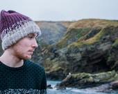 Fernweh UK REIDH Hand Knit Merino and Icelandic Wool Hat Hand knit hat scottish knit winter hat burgundy knit iceland