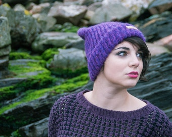 Hand Knit Merino Alpaca Hat, Purple hat, beanie, hand knit beanie, scottish knit, wool hat, winter hat,  Fernweh Uk, hat- READY TO SHIP