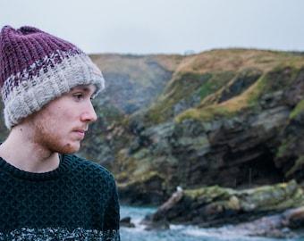 "Fernweh UK ""REIDH"" Hand Knit Merino and Icelandic Wool Hat, Hand knit hat, scottish knit, winter hat, burgundy knit, iceland"