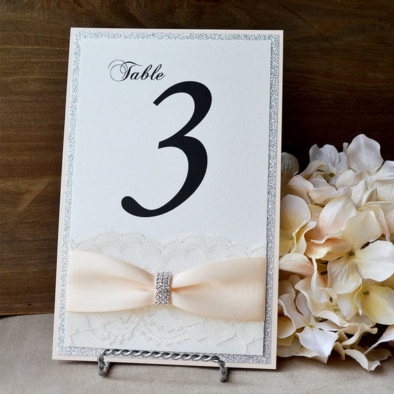 Silver and Blush Table Number - Romantic Wedding Table Number - Lace Table Number - Couture Table Card (CURVED BUCKLE TABLE # W/ Glitter)