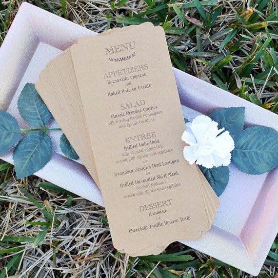 Rustic Wedding Menu - Kraft Paper - Custom Menu - Bridal Shower Menu - Many Color Options Available (pack of 25 pcs)
