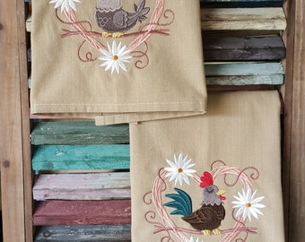 Rooster and Hen Dish Towel Set