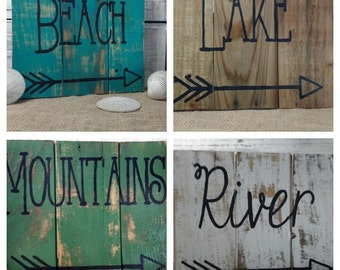 vacation pallet sign, rustic home signs, natuical decor, beach  pallet art, mountain pallet signs, lake sign, arrow sign, arrow art