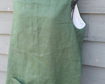 Linen Pinafore Apron hunter green one size