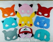 9 Pokemon Mask Set Felt Dress Up Masks  Halloween Mask Birthday Party Favor Themed Party