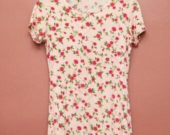 Grunge Pink Floral Dress