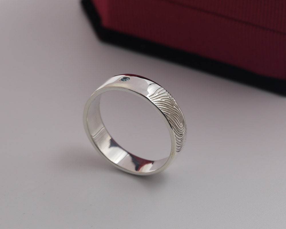 Sterling Silver Couple Ring Engraved Fingerprint Personalized
