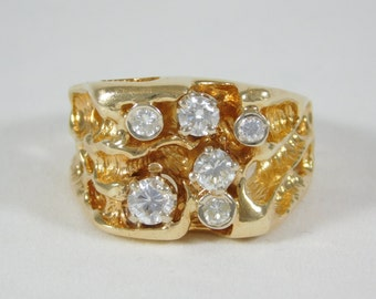Gent's 14k Yellow Gold Ring with Diamonds