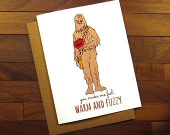 Funny Star Wars Valentine   Funny Love Card   Chewbacca Card   Wookie Card    You