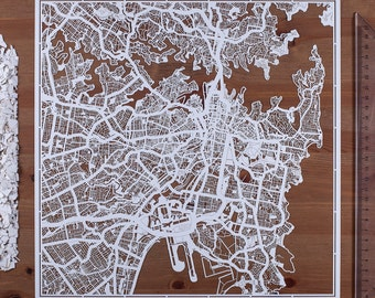 Paper cut map Sydney 12×12 In. Paper Art  IDEAL GIFTS