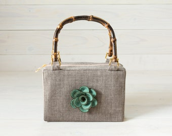 Grey Purse with Teal Green Rose Felt Flower and Bamboo Handles