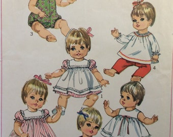 "Simplicity 7970 vintage 1960's doll wardrobe sewing pattern for 15"" - 17"" baby doll"