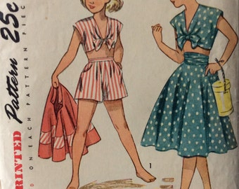 Simplicity 2915 girls midriff top, shorts and skirt size 7 vintage 1940's sewing pattern