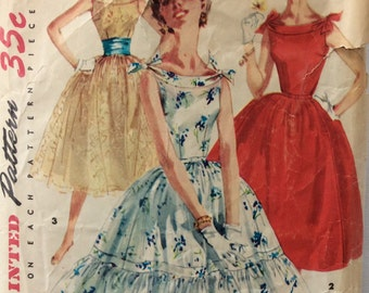 Simplicity 1166 misses one-piece dress w/full skirt size 14 bust 32 vintage 1950's sewing pattern