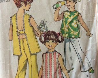 Simplicity 8170 girls shorts & top size 6 vintage 1960's sewing pattern