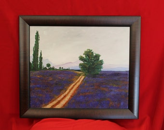 Lavender Landscape Painting, Road through Lavender Fields, Mountains and Lavender Fields Wall Art Original Painting Framed