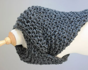 Outlander shawl, hand knit cowl, scarf in smoky gray, shoulder wrap, neck warmer
