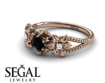 Filigree Engagement Ring Rose Gold Black Diamond Ring Floral Ring Flower Ring Art Deco Ring Filigree Engagement Ring - Kennedy
