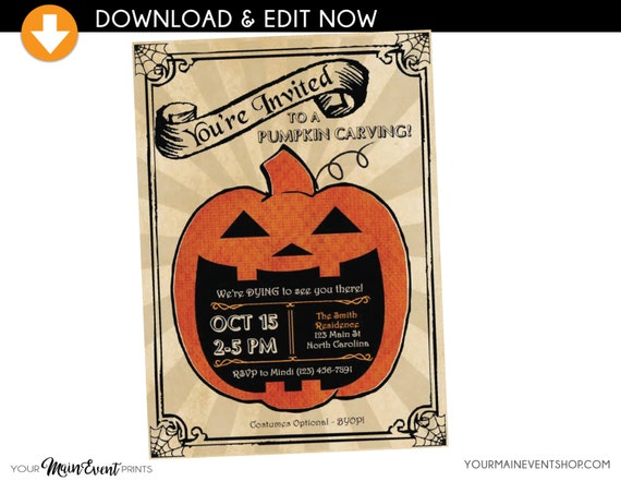 Pumpkin Carving Halloween Party Invitation • Instant Download Edit Yourself Halloween Bash Party Invite