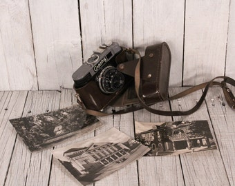 Vintage smena 8 camera Lomo 35mm Film viewfinder camera Black and white photos Soviet photo camera working Travel camera Brown leather case
