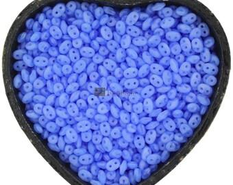 20g Czech SuperDuo 2 hole beads * NEW COLOR *  Blue OPAL 2.5x5mm [C12]